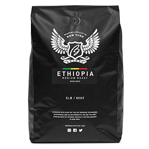 Browny Ethiopia Yirgacheffe Roasted Coffee Whole Beans - Premium Artisan Roast (Medium Roast, 5 Pounds)