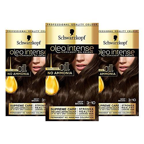 Schwarzkopf Oleo Intense Brown Haarfarbe, 3er Pack Permanente Ölfarbe, ohne Ammoniak, deckt Grau ab, Dunkelbraun 3-10