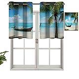 Cenefa corta recta, pequeña embarcación en el océano Atlántico, imagen dominicana del mar soleado y palmeras, juego de 1, 91,4 x 45,7 cm para Windows cocina