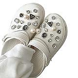 Juego de dijes de zapatos con forma de flor y diamantes de imitación con pegamento para niños y niñas, sandalias de zuecos, pulseras y decoración