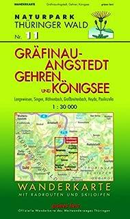 Naturpark Thüringer Wald 11. Gräfinau-Angstedt, Gehren und Königsee 1 : 30 000 Wanderkarte: Langewiesen, Singen, Möhrenbach, Großbreitenbach, Heyda, ... Wanderkarte des Weitwanderweges Thüringen