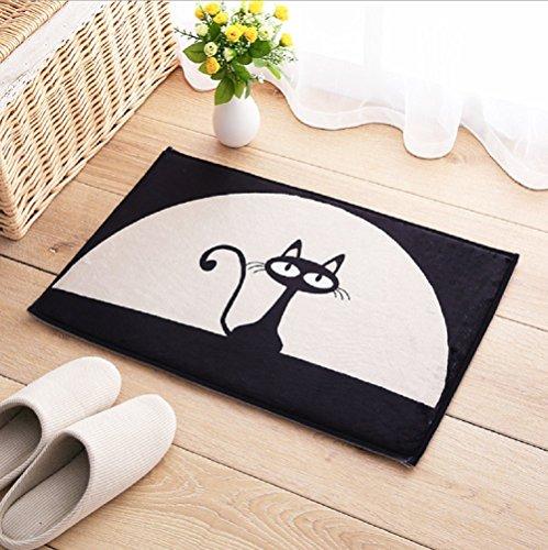 Fußmatte Fußabtreter Schmutzmatte waschbar & witzig Schmutzfangmatte für Haustür Innen- und Außen Fußmatte Teppich 40x60 cm Motiv Katze