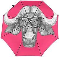 コンパクトトラベル折りたたみ傘サンレイン防風キッズレディースメンズクールバッファローヘッドかわいい牛の顔ディープピンク-3Dインサイドプリント3-11.5インチ折りたたみ後