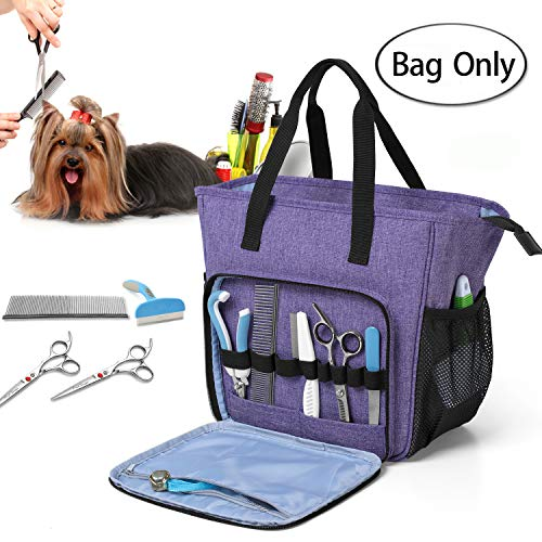 Teamoy Pet Grooming Tote, Dog Grooming Supplies Organzier Bag for Grooming Shears, Deshedding Tool, Towels, Shampoo and More, Purple