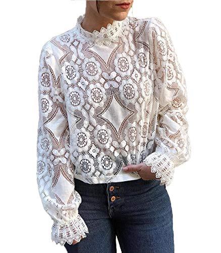 Camisas y Blusas de Encaje para Mujer Camisa de Encaje Camisa Holgada de Manga Larga con Cuello Alto para Mujer Camisas Sueltas Camisa sin Cordones en Color Liso