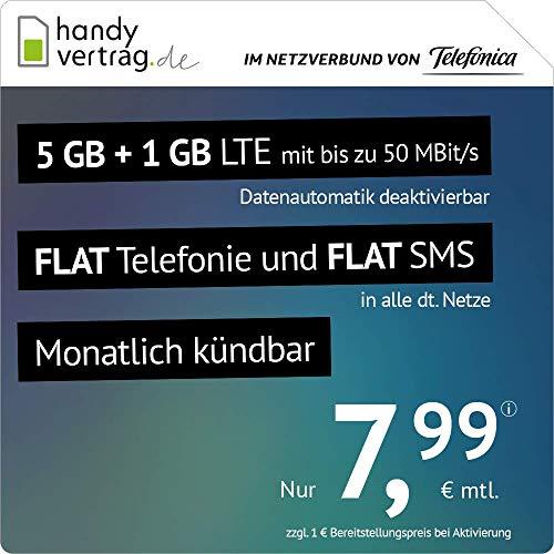 handyvertrag.de LTE All 5 GB + 1 GB - monatlich kündbar (Flat Internet 6 GB LTE mit max. 50 MBit/s mit deaktivierbarer Datenautomatik, Flat Telefonie, Flat SMS und EU-Ausland, 7,99 Euro/Monat)