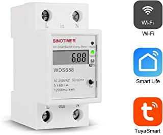 Smart Life Tuya APP Single Phase Din Rail WIFI Smart Energy Meter Power Consumption Monitor kWh Meter Wattmeter 220V,110V AC 50Hz/60hz
