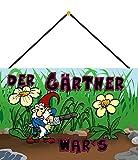 FS Spruch Der Gärtner War's Gartenzwerg Blechschild Schild gewölbt Metal Sign 20 x 30 cm mit Kordel