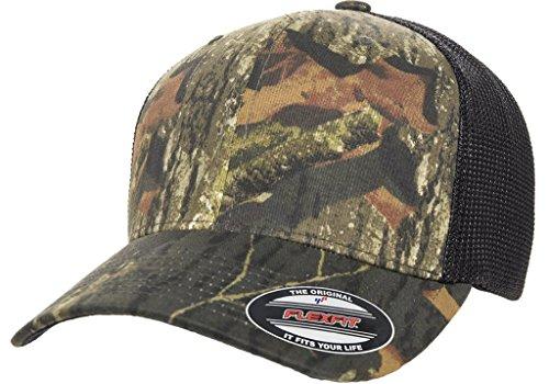 Flexfit Premium Original Blank Mossy Oak Stretch Mesh Trucker Cap (Mossy Oak Breakup/Black)