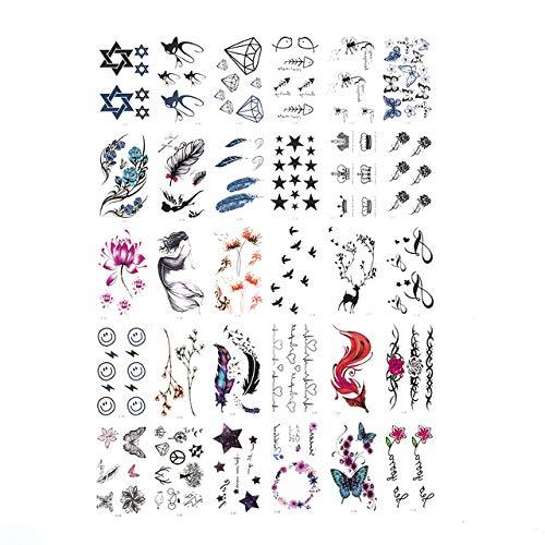 30 feuille/lot autocollant de tatouage temporaire lettres plume Body Art tatouages fleurs imperméables tatouages autocollant faux transfert d'eau SF254