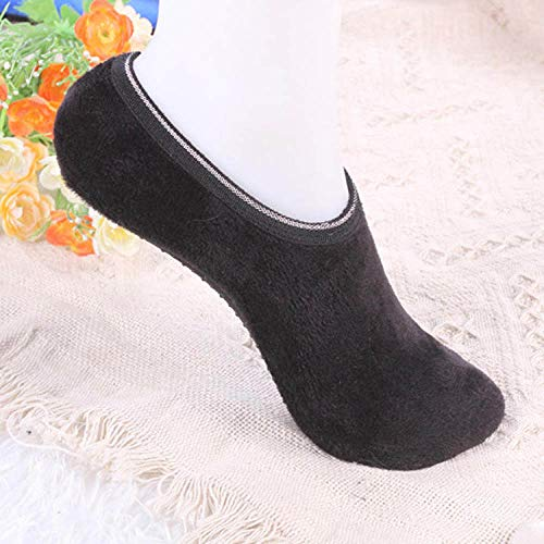 Warme Socken,Slipper Socken,Winter Angenehm Weiches Velvet Indoor Stock Socken Kurz Anti-Skid Boot Socken Farbe Warm Frauen Hausschuhe Socken Schwarz(3pcs)