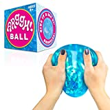 Power Your Fun Arggh Glitter Stress Ball for Adults and Kids - Medium Squishy Stress Ball Fidget Toy, Anti Stress Sensory Ball Squeeze Toy (Blue)