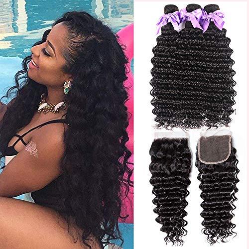 Brazilian Deep Wave Human Hair 3 Bundles with Closure Free Part (22 24 26+20) 100% Unprocessed Virgin Brazilian Deep Curly Hair Weaves with Closure Natural Color Laritaiya hair