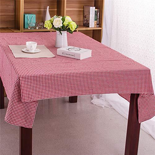 Manteles Mesa Rectangular Tela Lino, Fansu Impermeable Lavable Diseño de Comedor Resistencia al Calor y la Decoración del Hogar Hogar Oficinas (90x90cm,Rojo)