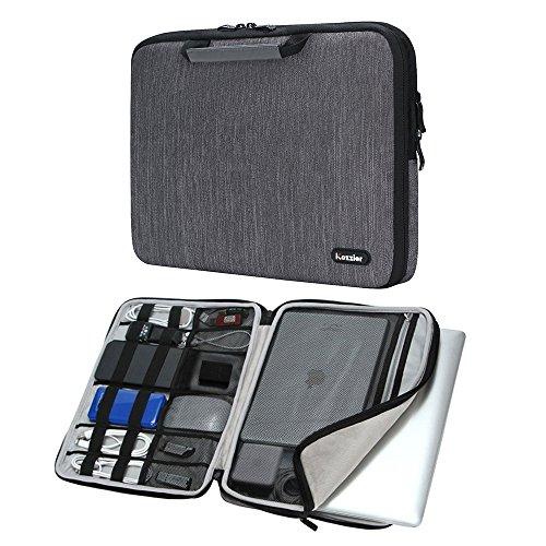 iCozzier 15-15,6 Zoll Notebook Hülle Sleeve Tasche mit Griffen/Multifunktionale Aufbewahrungs Zubehörtasche für 15 Zoll Laptop/Ultrabook/Notebook/Netbook/MacBook - Grau