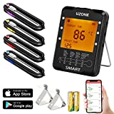 Wireless Meat Thermometer, Digital BBQ Thermometer Smart Cooking Thermometer with 4 Probes for Smoker Grilling Barbecue Oven Kitchen, Support iOS & Android, FDA Approved