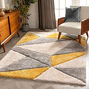 Well Woven Walker Yellow Triangle Boxes Thick Soft Plush 3D Textured Shag Area Rug 5×7 (5'3″ x 7'3″)