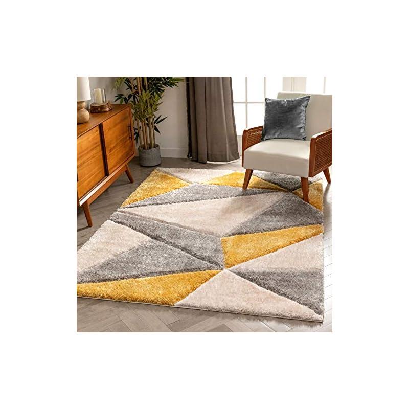 "silk flower arrangements well woven walker yellow triangle boxes thick soft plush 3d textured shag area rug 5x7 (5'3"" x 7'3"")"
