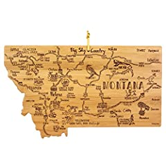 Celebrate life in Big Sky Country with this beautiful bamboo cutting board in the shape of Montana with permanent, laser-engraved artwork Fun, whimsical laser-engraved artwork calls out all the wonderful sights and places in the state from Helena to ...