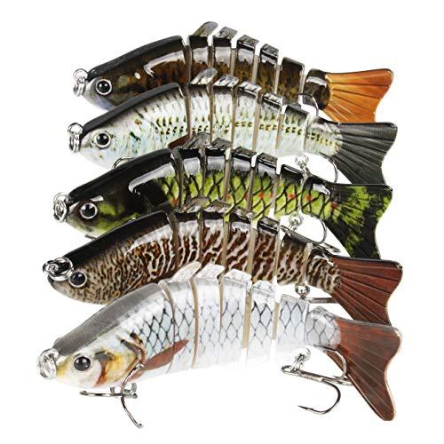 "REAWOW Bass Fishing Lures 4"" 10cm Multi Jointed Swimbaits Slow Sinking Hard Plastic Bionic Lifelike Bass Lures 5PCS Running Depth 5-10 Feet"