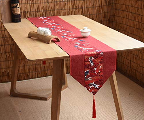 OLOEY Mantel de Boda Chino Arte del té Algodón y Lino de Estilo Chino Gabinete de TV Retro Mesa de Comedor Camino de Mesa 30 * 240cm Carpa roja A
