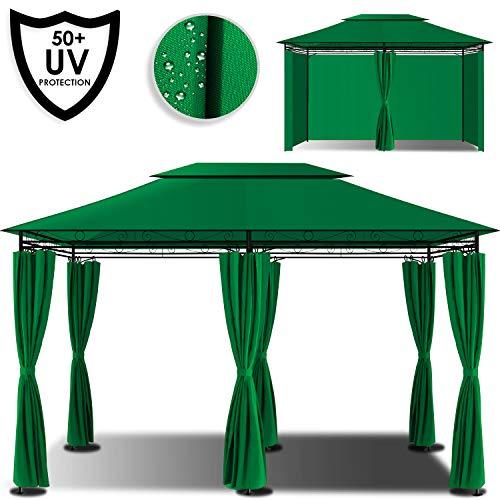 Kesser® - Pavillon 3x4m inkl. Seitenwände mit Reißverschlüsse, Eckig Festzelt Partyzelt Gartenlaube Gartenzelt Gartenpavillon UV-Schutz 50+, Grün