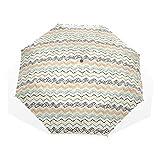 LASINSU Paraguas Resistente a la Intemperie,protección UV,Composición de Arte geométrico con Pinceladas Estilo Trazos Salpicaduras Zig Zag Chevron