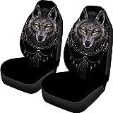 FOR U DESIGNS Men Car Seat Protector Cover Wolf Black Design...