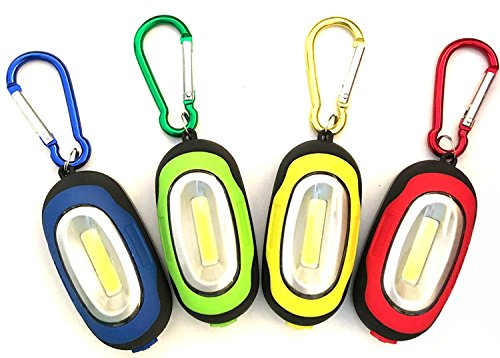 SUN-E [4 Pack] Magnetic Pocket Key Chain Keychain Flashlight/COB Super Brightness with Carabiner, Assorted Colors