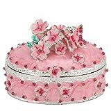 Joyero con flores de cerezo, organizador de almacenamiento en el cofre del tesoro con baratija pintada de metal, antiguo y creativo, soporte para exhibición de joyas, pendientes/collar/estuche