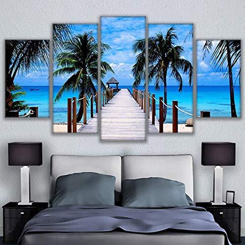 FGVBWE4R HD Druck Leinwand Malerei Home Dekorativer Rahmen Modular Bild 5 Panel Bali Elephant Park Landschaft Poster-XXL