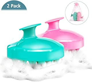 (2 Pack) Shampoo Brush | Hair Scalp Massager, Chialstar Soft Silicone Scalp Care Brush [Wet & Dry] Perfect for Men, Women, Kids and Pets (Pink/Green)