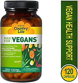 Country Life Max for Vegans - 120 Vegan Capsules - Multivitamin & Mineral Complex - Coenzyme B Vitamins - Digestive Enzyme Blend