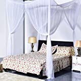 JBRD TOYS Quick and Easy Installation 4 Corner Post Bed Canopy for King Size Beds (White)