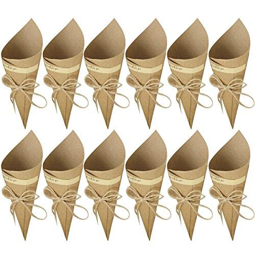 50 Piezas Conos de Arroz para Boda, Bolso boda para confeti o bolsa cucuruchos de papel kraft cono de arroz, cuerda de cáñamo, cinta de doble cara, etiqueta adhesiva (Color Marrón)