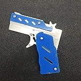 Acero inoxidable 1 unids/set Caucho Launciador Pistola Pistola Pistola Pistola de Pistola Tiro Regalos Chicos Diversión al aire libre Deportes para niños EDC Multitool (Color : Blue)