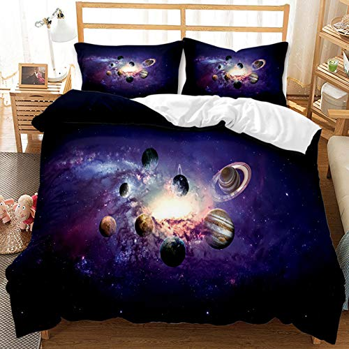 QXbecky Juego de Cama Starry Sky Star Hole Black Hole edredón Funda de Almohada 2, Juego de 3 Piezas de Microfibra cepillada cálido y Transpirable 240x220cm