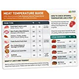 Meat Temperature Chart Magnet - Chicken, Turkey, Beef Steak Cooking Grill Guide Meat Doneness Chart BBQ Magnet - Internal Meat Temperatures Roast & Grill Accessories Food Cheat Sheet Carnivore Diet