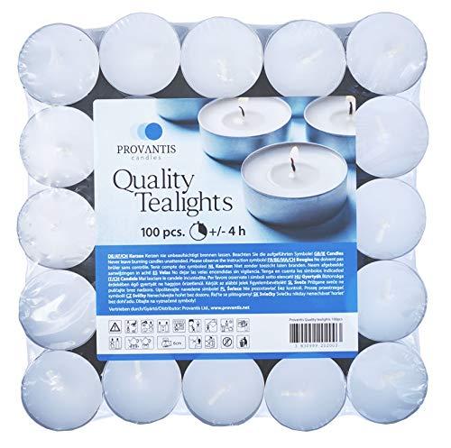 Provantis Velas de Té Tealights - 38 mm - Paquete de 100 piezas - 4 horas de tiempo de combustión - Color Blanco - Cera sin, Larga duración, Calidad de la UE