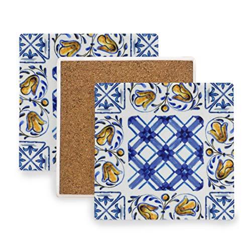 PANILUR Tapis de tasse à caféAcquerello fiore murale maiolica italiana acquerello blu modello astratto vernice araba marocchina,Sous verre en céramique
