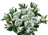 Olrla 6 rose artificiali vintage fiori in finta seta, bouquet da sposa decorazione per casa hotel ufficio giardino (azzurro, 6)