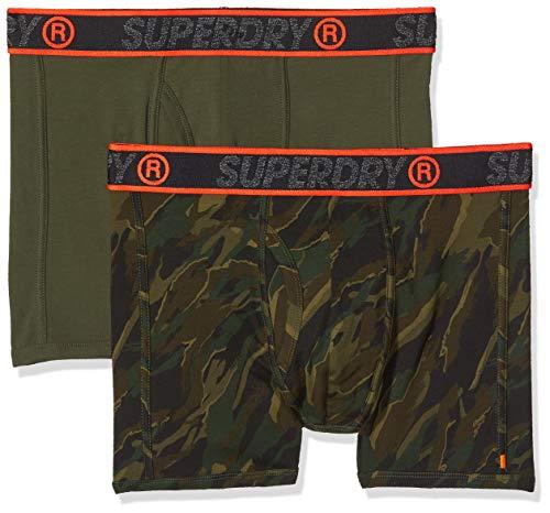 Superdry Herren Sport Double Boxer Boxershorts, Mehrfarbig (Nordic Khaki/Canopy Camo W6L), S
