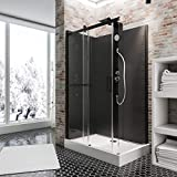 Cabine de douche complète Korsika, cabine de douche intégrale avec porte coulissante, jets de massage, noir, 120x80 cm, Schulte