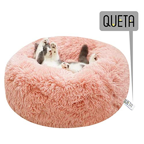 Queta Katzenbett Schöne Tierbett, Klein Hund Bett Haustierbett Plüsch Weich Runden Katze Schlafen Bett (50cm Durchmesser Rosa)