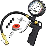 Tire Inflator with Pressure Gauge – Large Glow Dial, Swivel Air Chuck with Gauge and Air Compressor Accessories – 100 PSI