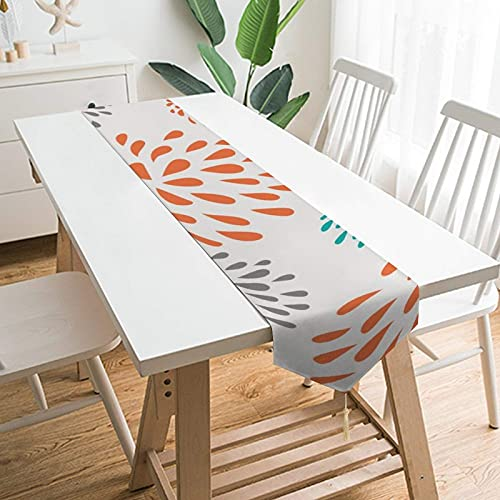 YLB 79' x 13' Table Runners, Orange Dahlia Floral Pattern Modern Design, Table Decoration for Wedding, Table Linen Layout, Decorations Outdoor Picnics Dining Table (Size : 70' x 13')