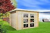 Alpholz Gartenhaus Gent aus Massiv-Holz | Gerätehaus mit 19 mm Wandstärke | Garten Holzhaus inklusive Montagematerial | Geräteschuppen Größe: 270 x 210 cm | Flachdach