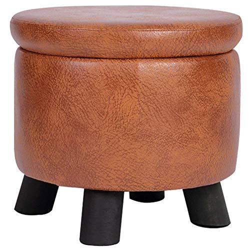 Round Storage Ottoman, Memory Foam Padded Seat Footrest Stool Toy Box Footstool Space-Saving with Removable Lid Great for Living Room Bedroom Nursery-A-33x33x30cm(13x13x12inch)