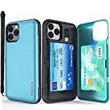 iPhone 11 Pro Case,SKINU with Credit Card Holder ID Slot Case with Wrist Strap Inner USB to 8 Pin Adapter and Mirror for iPhone 11 Pro Case 5.8 inch (2019) - Teal