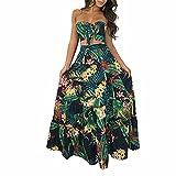 Hawaiian Dress for Women Ruffle Floral Strapless Summer Evening Party Beach Leaf Print Maxi Dress Green X-Large